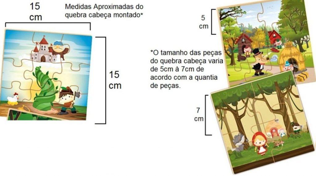 Dimensões dos quebra-cabeças do montando historinhas