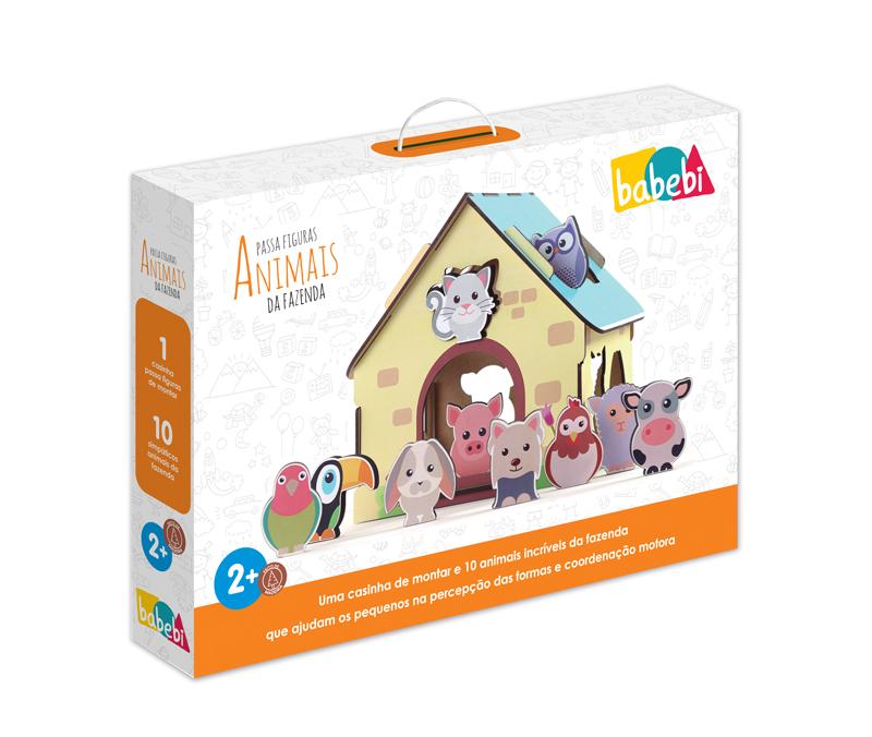 Embalagem do passa figuras animais da fazenda