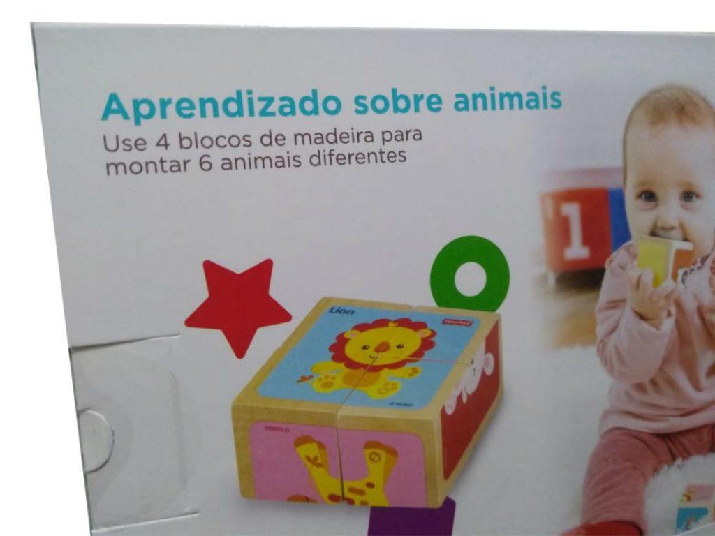 embalagem do Quebra-cabeça em blocos de madeira conhecendo os animais
