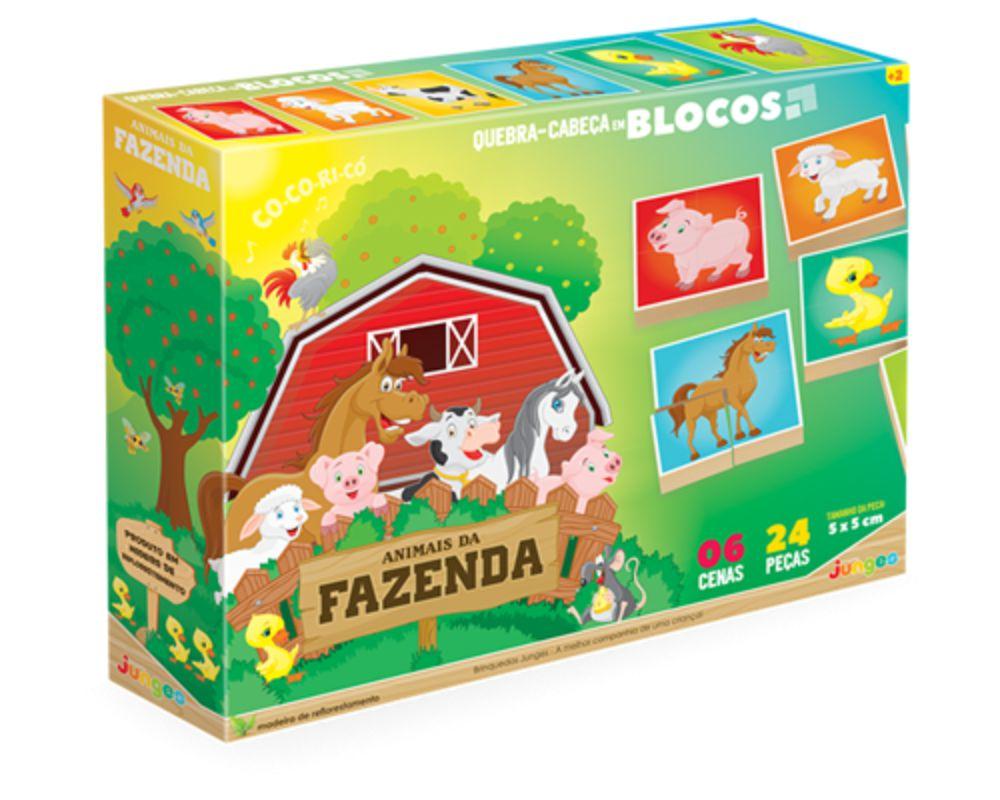 Embalagem do quebra-cabeça em blocos da fazenda
