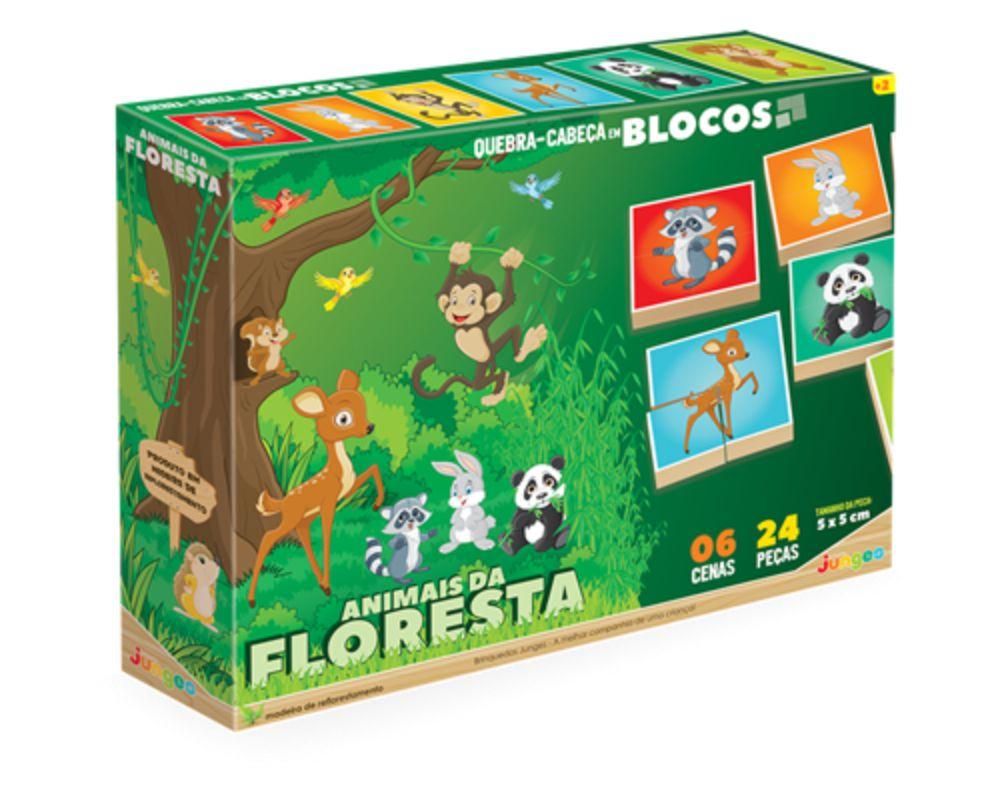 Embalagem do quebra-cabeça em blocos da floresta