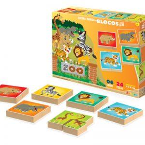 Embalagem e peças do quebra-cabeça em blocos do Zoológico