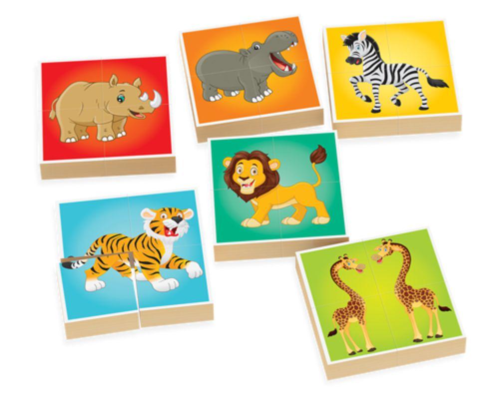 Peças do quebra-cabeça em blocos do Zoológico