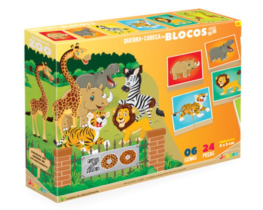 Embalagem do quebra-cabeça em blocos do Zoológico