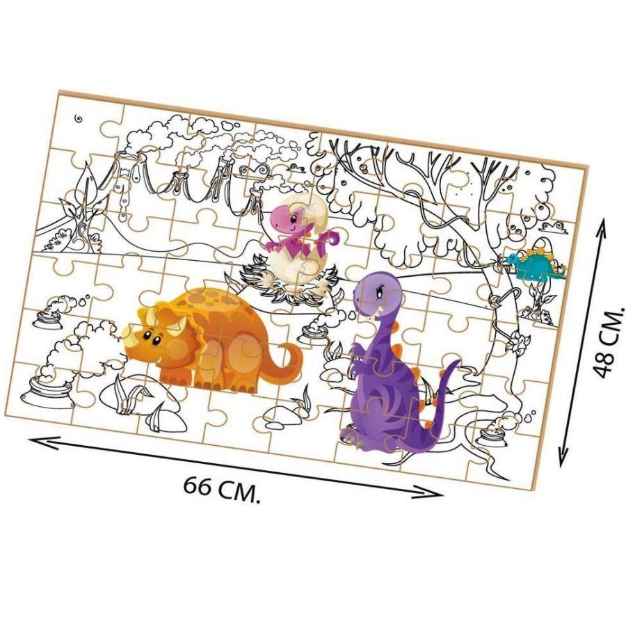 Quebra-cabeça para colorir Dino montado