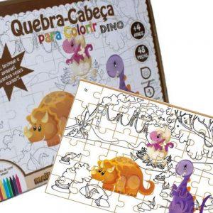 Quebra-cabeça para colorir Dino montado junto com sua embalagem