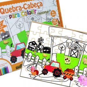 Quebra-cabeça para colorir Fazenda montado junto com sua embalagem