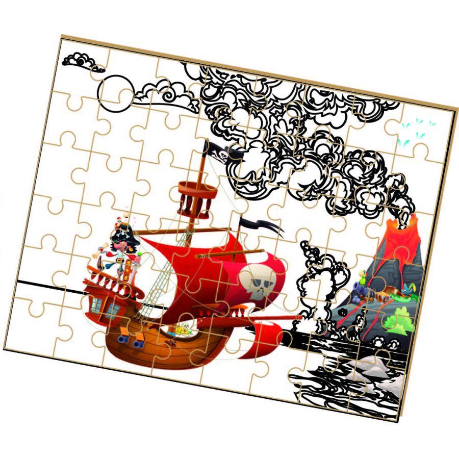 Quebra-cabeça para colorir Pirata montado