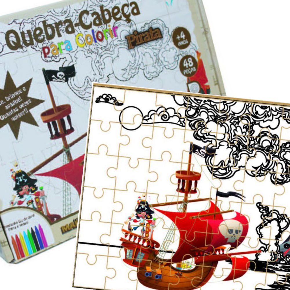 Quebra-cabeça para colorir Pirata montado junto com sua embalagem