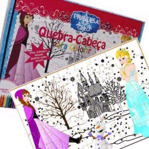 Quebra-cabeça para colorir Princesa do Gelo montado junto com sua embalagem