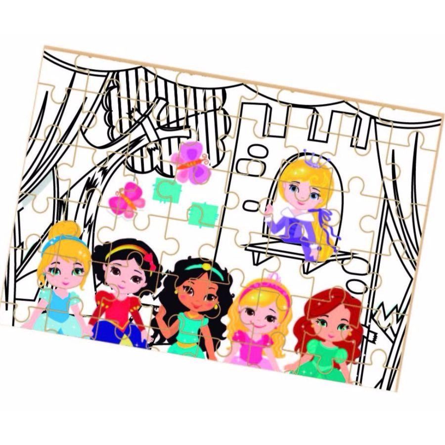 Quebra-cabeça para colorir Princesas Baby montado