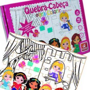 Quebra-cabeça para colorir Princesas Baby montado junto com sua embalagem