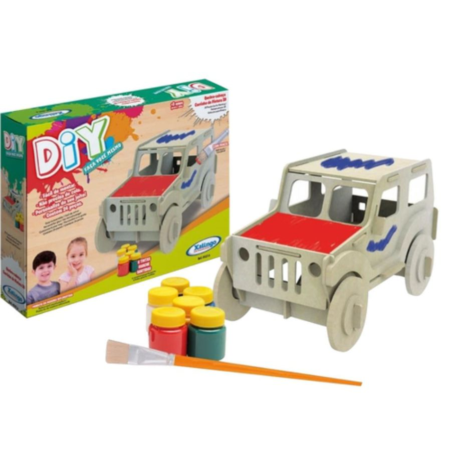 Embalagem e conteúdo da embalagem co carrinho 3d de pintura