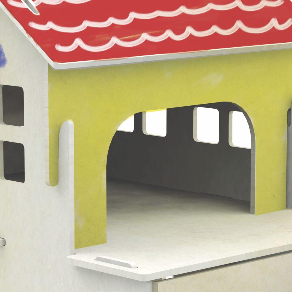 Quebra-cabeça casinha de pintura 3d montado