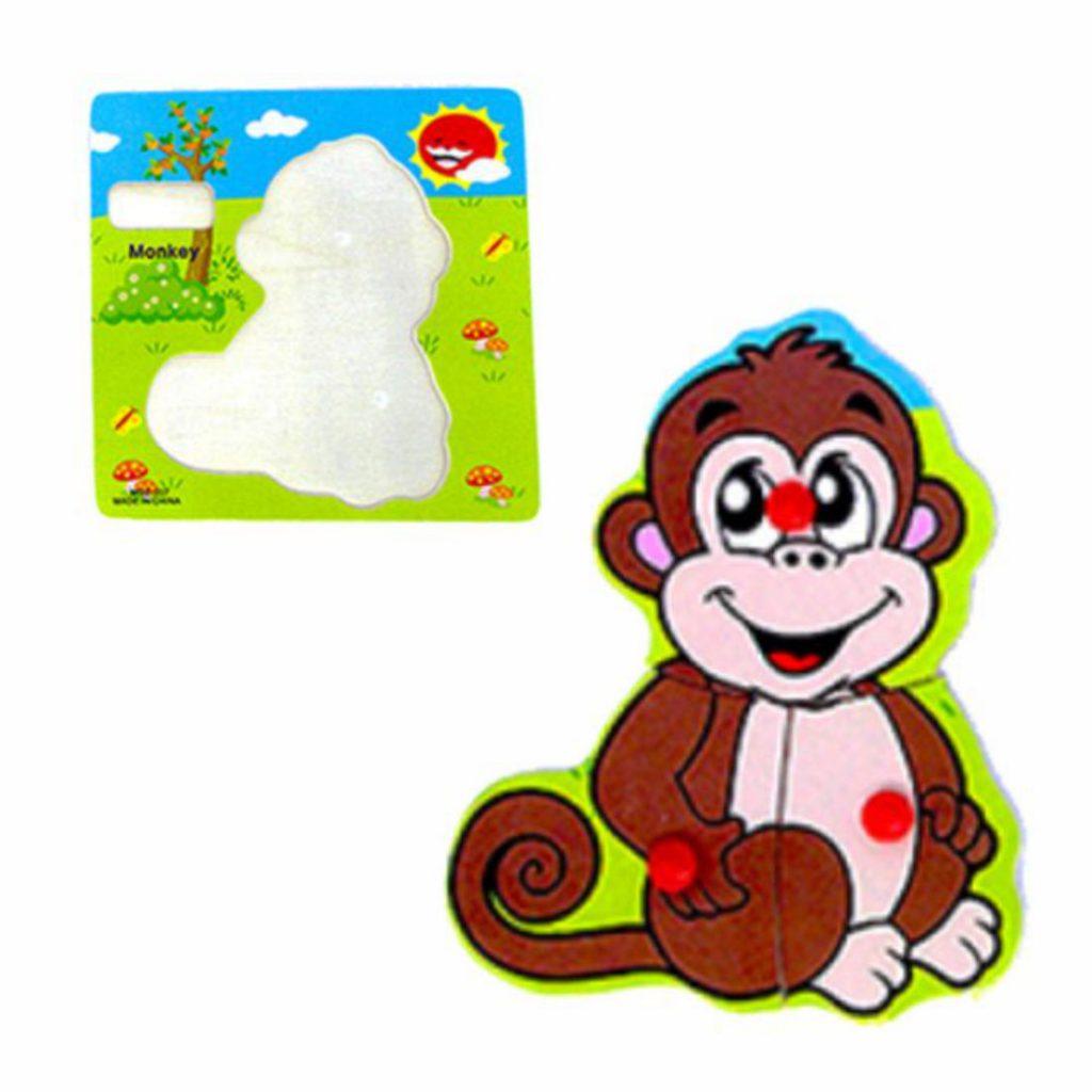 quebra-cabeça didático em madeira macaco