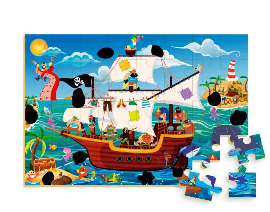 Quebra-cabeça mágico navio pirata montado