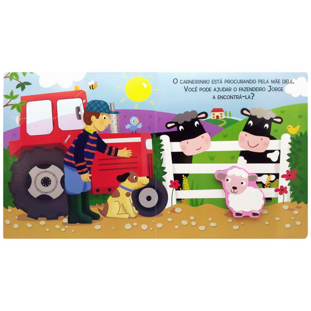Livro quebra-cabeças touchwood fazenda aberto na primeira página