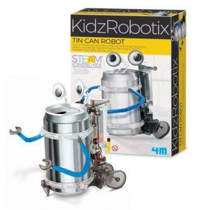 Robô latinha montado e sua embalagem