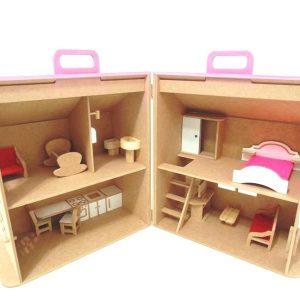 casinha de boneca sobrado maleta aberta