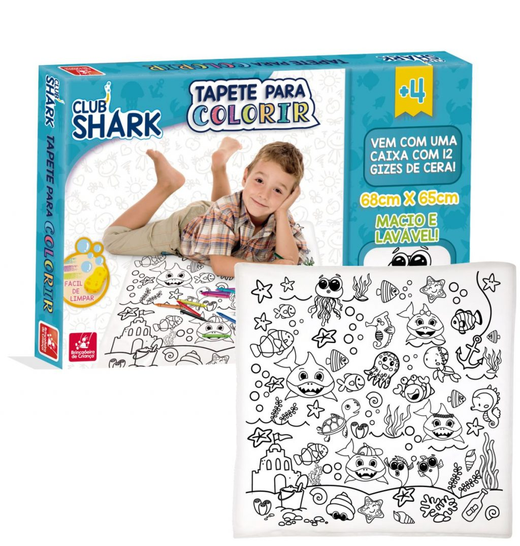 Embalagem e Tapete para colorir club shark