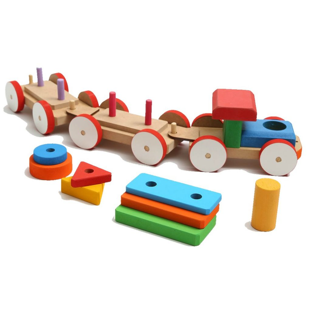 Trem pedagógico de fitas com peças desmontadas