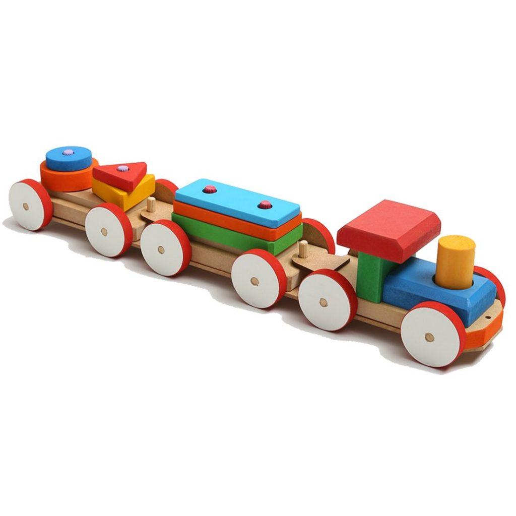 Trem pedagógico de fitas com peças montadas