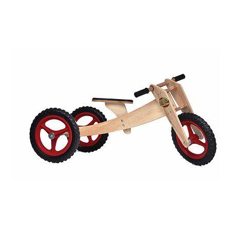 Bike de equilíbrio em madeira com três rodas vermelha