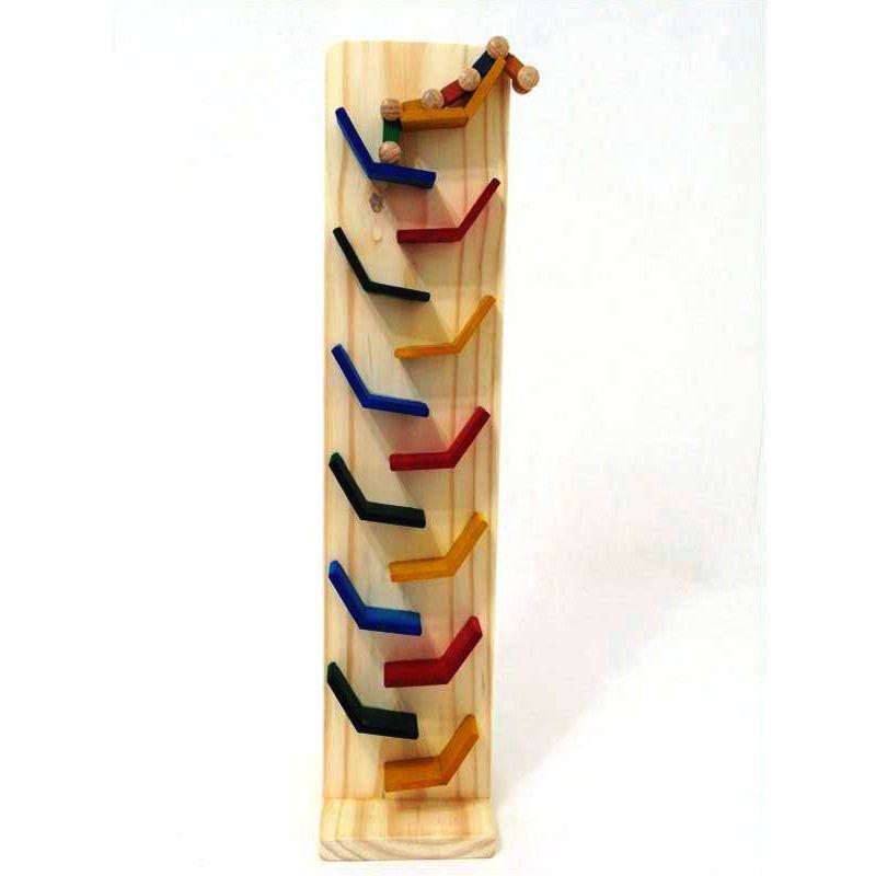 Brinquedo Educativo Zig-Zag em Madeira com rampas coloridas e um carrinho